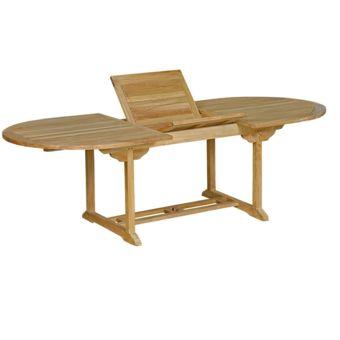 Wood en Stock Table de jardin en teck brut : table ovale à rallonge