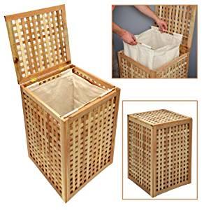 Panier à linge en bois de noyer massif de 68 cm de hauteur meubles de