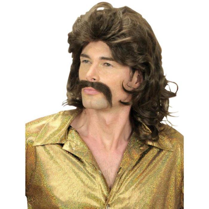 Perruque et moustache disco années 70 brunes homme années 70 / disco