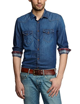 Tom Tailor Chemise en jeans Homme Plain Blue FR : Small
