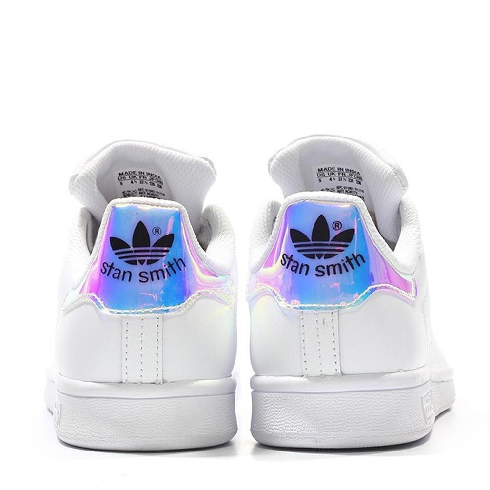 adidas stan smith hologram iridescent aq6272 femme blanc bleu rose