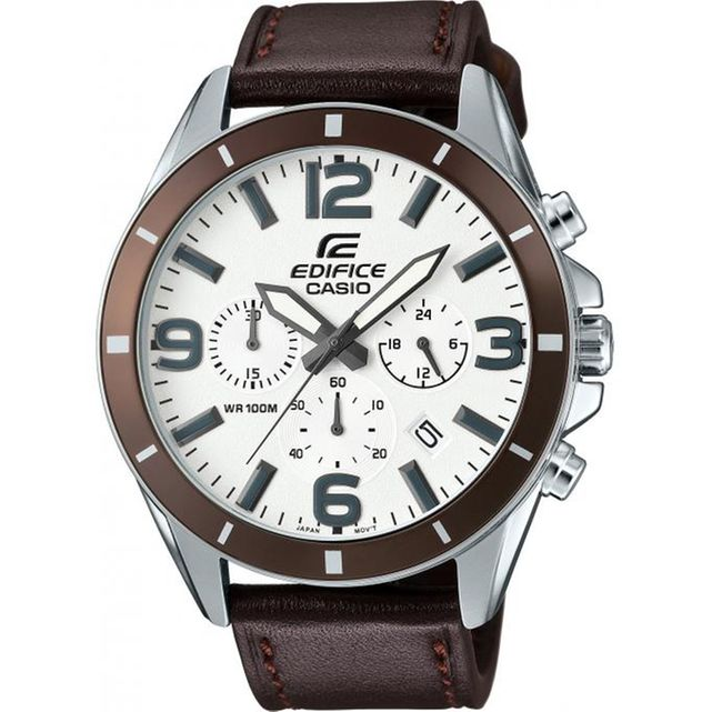 Casio Edifice Classic EFR 553L 7BVUEF Montre Marron Surpiquée Homme