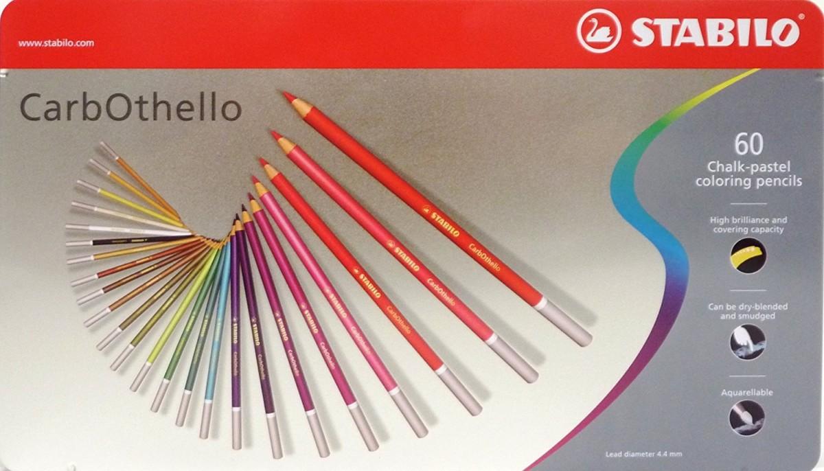 Boîte métal de 60 crayons de couleur fusains pastels +