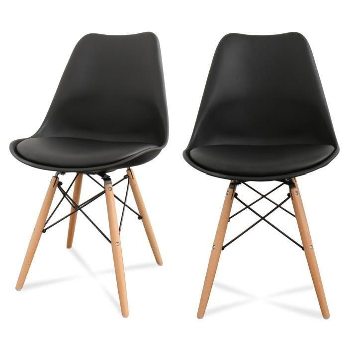 Lot de 2 chaises design Ormond DSW Couleur Noir Lot de 2 chaises