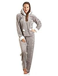 Pyjama à capuche en polaire ultra douce femme gris taille 38 à