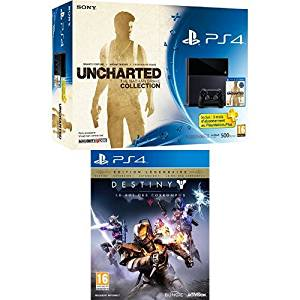Pack PS4 500Go + Uncharted : The Nathan Drake Collection + PS Plus 3