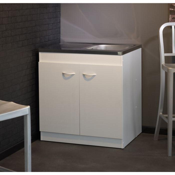 Meuble sous évier COSMOS Blanc L80 cm Achat / Vente elements bas
