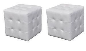 cuir capitonné blanc table chevet de lit bout de canapé pouf