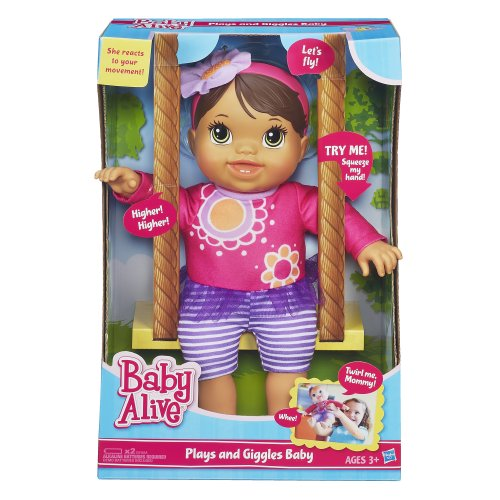 Baby Alive Plays and Giggles Brunette Baby Doll New