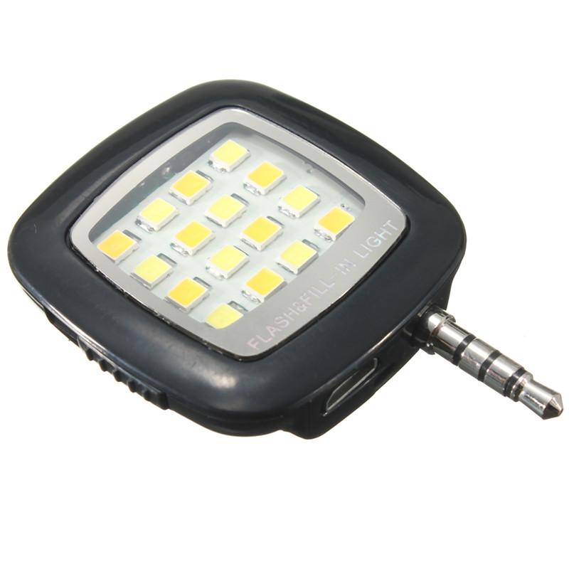 5mm Jack 16 LED Mini Selfie Flash Externe Lampe Spot Caméra Pr IOS