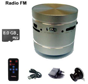 HP Enceinte Vibrante ADIN MP3 radio haut parleur vibrant micro SD 8 Go