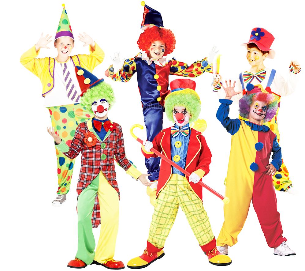Circus Clowns + Red Nose Boys Fancy Dress Carnival Comedy Kids