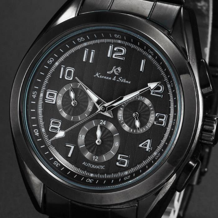 Montre Homme Noir Bracelet en Acier Mécanique Achat / Vente montre