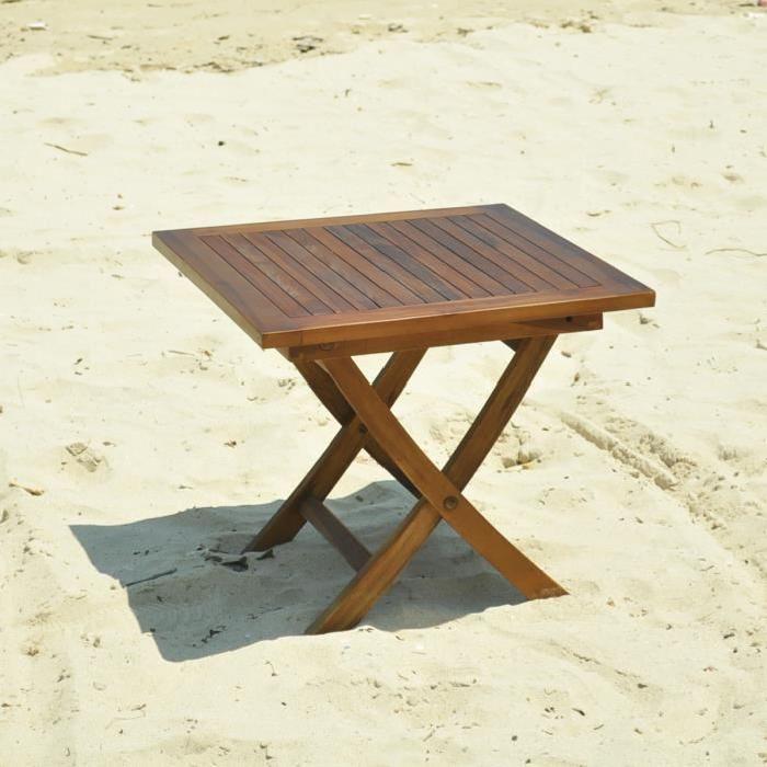 pliante en teck huilé Achat / Vente table basse jardin Table