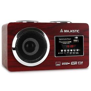 FM COMPACT VINTAGE RECEPTEUR STEREO LECTEUR MP3 USB SD AUX BATTERIE