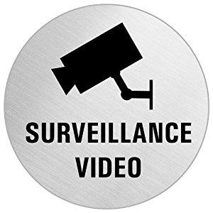 OFFORM Plaque de Porte Pictogramme «Surveillance Video»acier inox