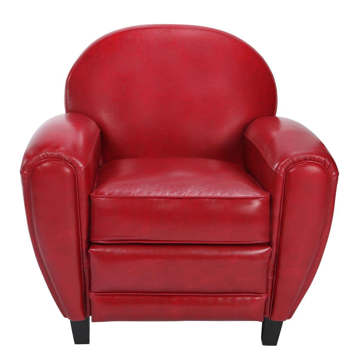 Fauteuil en cuir topiwall - Fauteuil club cuir rouge ...