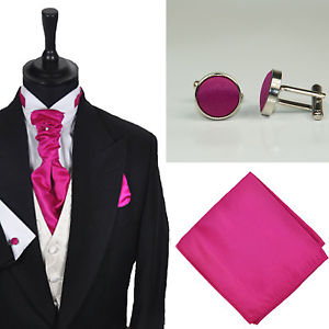 Habille Tailleur Neuf Hommes Fuchsia Rose Uni Cravate Mariage Mouchoir