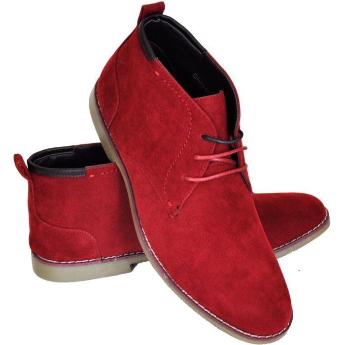 Bottines homme rouge à lacets Homme Bottines rouges pour homme à