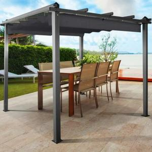 TONNELLE BARNUM Pergola alu 3x3m tonnelle avec toit rétractable gr