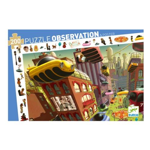 Puzzle observation Ville du futur 200 pièces Djeco pour enfant de 6