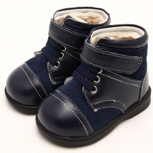 Chaussures semelle souple | bottines fourrées bleues et grises
