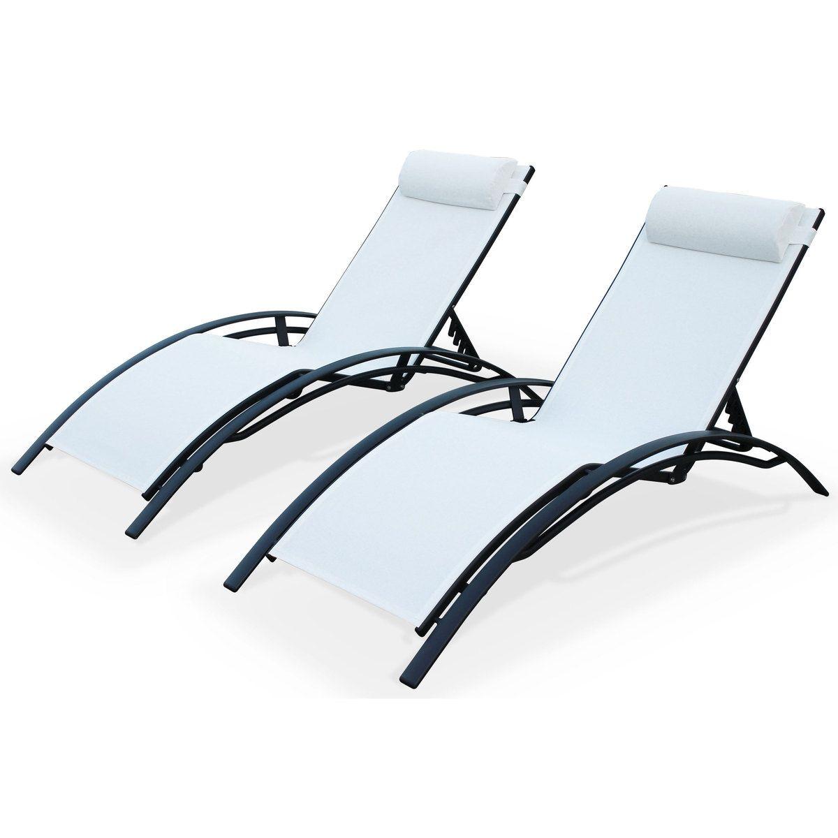 Duo 2 bains de soleil en Aluminium et textilène lounge Louisa transat