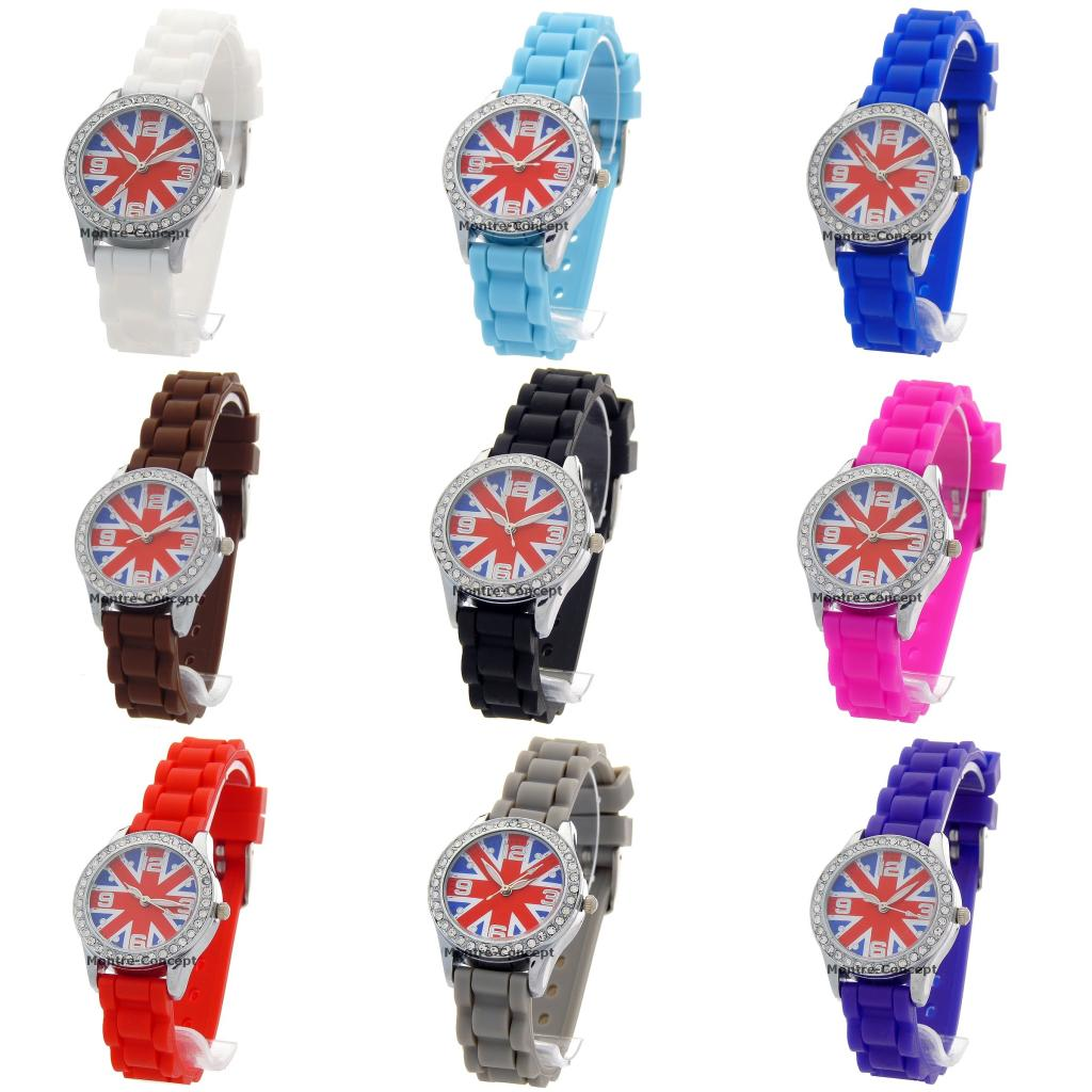 Montre enfant bracelet silicone fond cadran Union Jack fashion watch