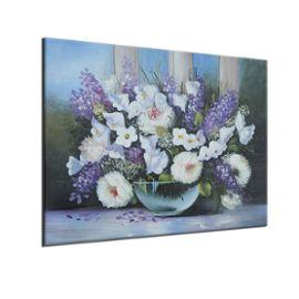 Peinture À L'huile Tableau Abstraite Bouquet De Fleurs Vase Sur Toile