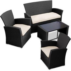 Salon de jardin ensemble canape fauteuil chaise table resine tressee