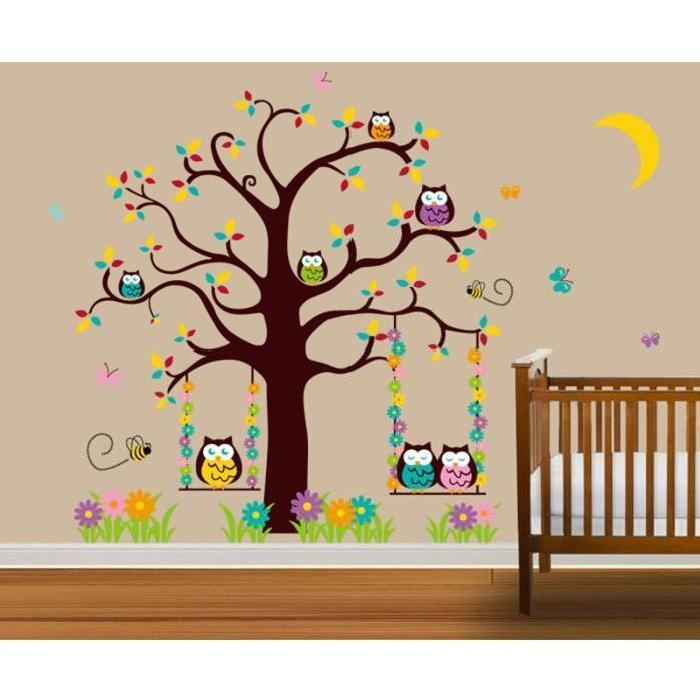 Stickers muraux enfant l'arbre de hibou Achat / Vente stickers
