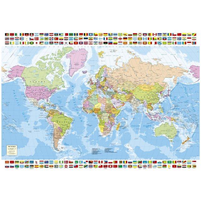 Puzzle 1500 pièces : carte du monde Educa