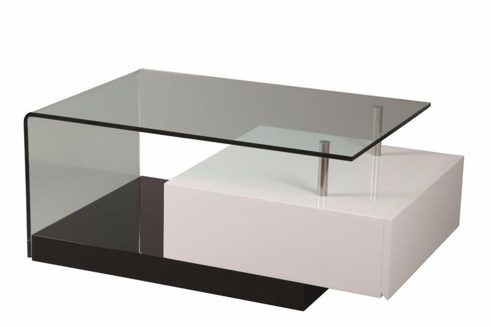 Table basse TRUNK en verre transparent tiroir blanc