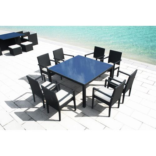 Concept Usine Table Carre Resine Tressee 8 Personnes Luxe 140CM