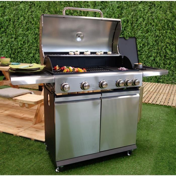 BBQ PLUS Barbecue américain à gaz 5 brûleurs + side burner Fonte