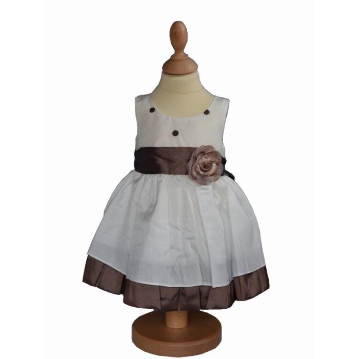 Robe de cérémonie bébé choco/ivoire SELMA Robe de cérémonie
