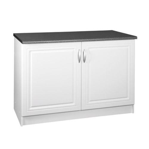 Meublesline Meuble de cuisine bas 120 cm 2 portes Dina blanc avec