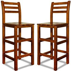 tabourets de bar en bois d'acacia avec dossier: Cuisine