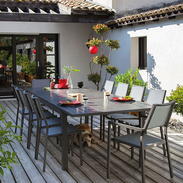Table de jardin en métal Milano 220/300 x 110 cm ice CASTORAMA