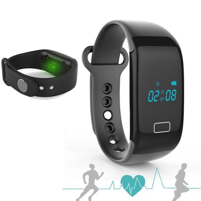 activité Cardio Fitness Bluetooth intelligente montre bracelet Noir
