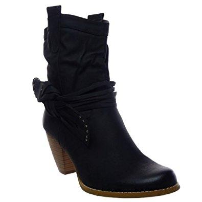 Kickly Chaussure Mode Bottine Botte Mi Mollet femmes noeud enlevable