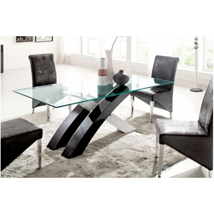 Table plateau en verre et pieds en bois laqués bicolore Dehli Cette