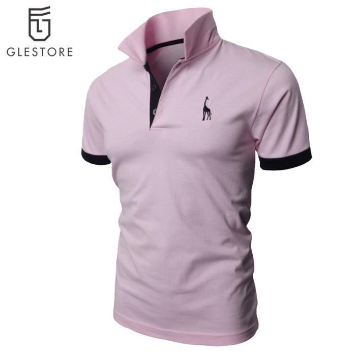 vetement homme polo de mode chemise rose