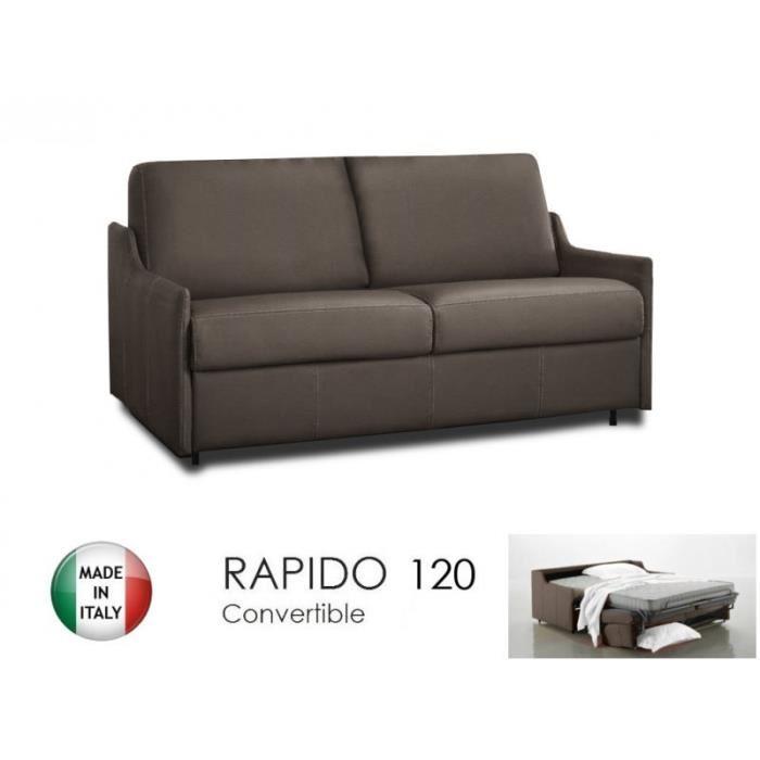 Canapé lit 2 3 places LUNA convertible RAPIDO 120cm, cuir éco taupe