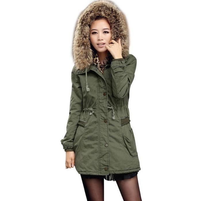 Melange de coton Manches longues Manteau femme parka hiver fourrure