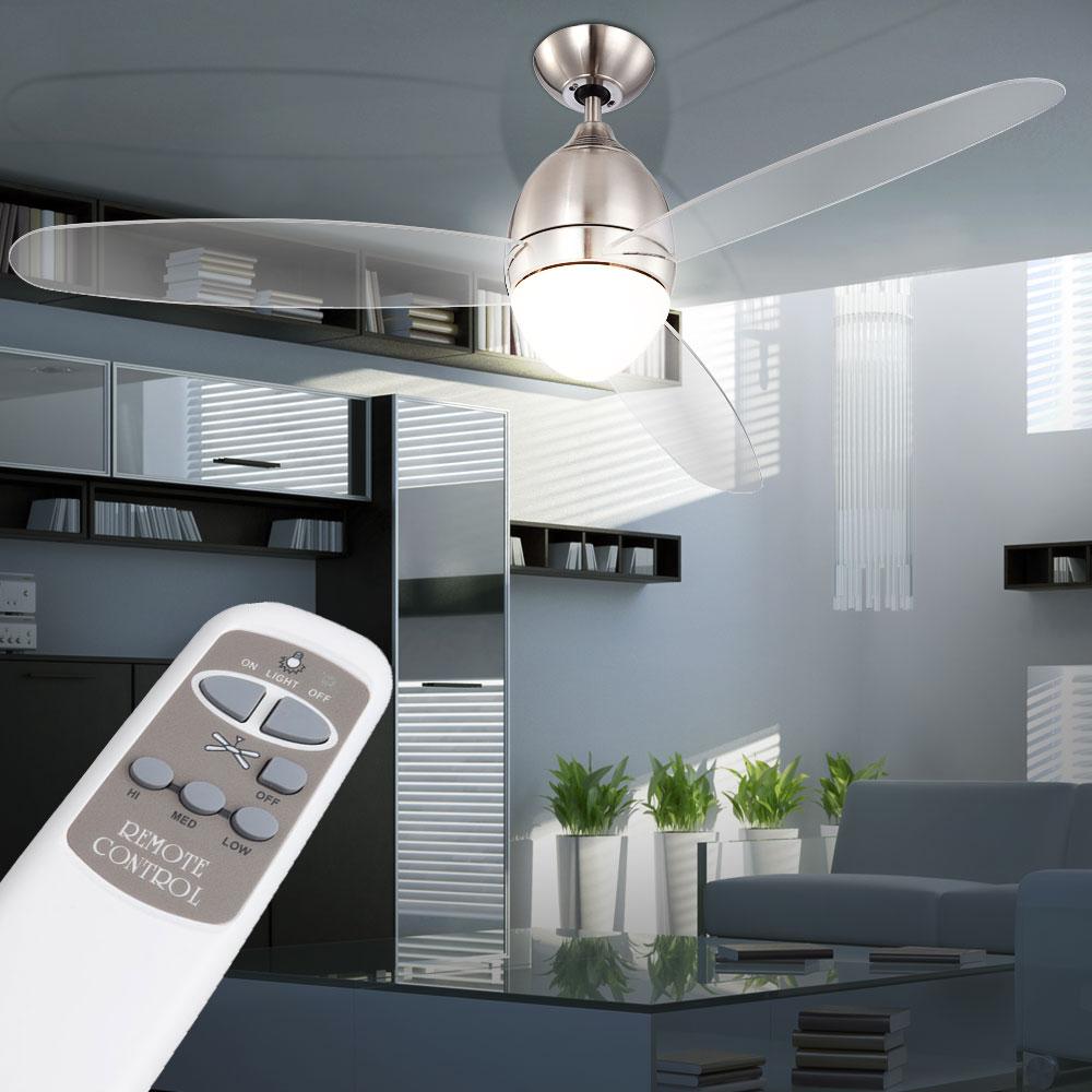 Ventilateur de plafond télécommande éclairage ailes transparentes