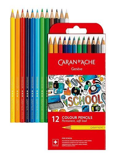 Crayons de couleur «Caran d'Ache» Etui de 12