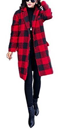 La Vogue Manteau Caban Longue Droit Femme Carreaux Bicolore Col Revers