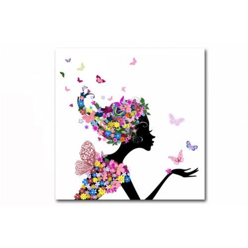 Declikdeco Tableau enfant Fée des Fleurs 60X60 cm pas cher Achat