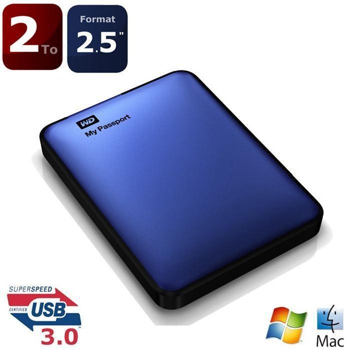 WD disque dur My passeport 2To USB3.0 bleu Prix pas cher